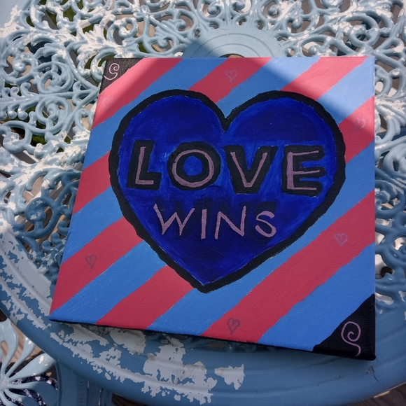 New Love Wins heart painting pink and blue
